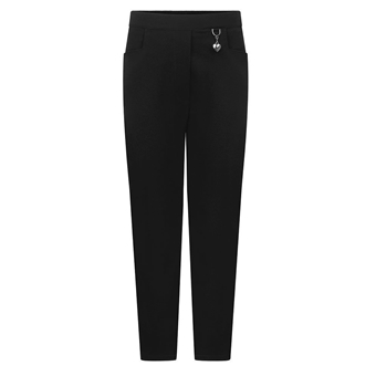 zeco school trousers girls black front view